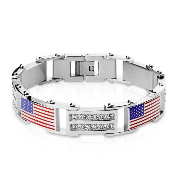 Damen Herren Armband Gliederarmband in Silber mit USA Flagge und Kristallen