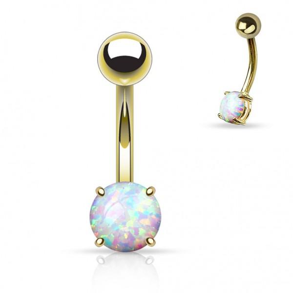 Chirurgenstahl gelbgold oder roségold Bauchnabelpiercing Hängender Opal