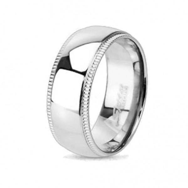 """Coolbodyart Unisex Titan Ring silber """"Groved Edge Line"""""""