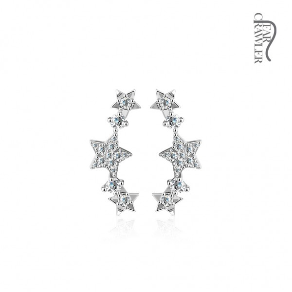 Ear-Crawler Ohrmanschette Ohrklemme aus Messing rhodiniert, Sterne mit Zirkonia