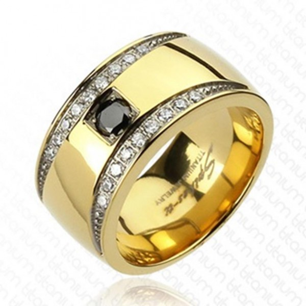 Coolbodyart Unisex Ring Titan gold 11mm breit Multi Zirkonia Classic Design