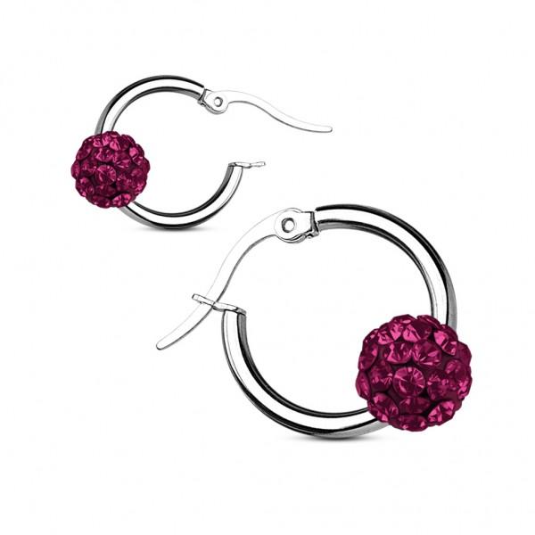 Coolbodyart Damen Chirurgenstahl 1 Paar Ohrringe silbern Reifen mit Kristallball