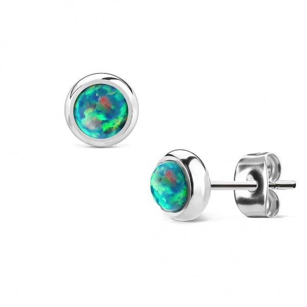 Ohrstecker Chirurgenstahl silber, mit Opal in grün,blau,weiß,pink,rot,purple