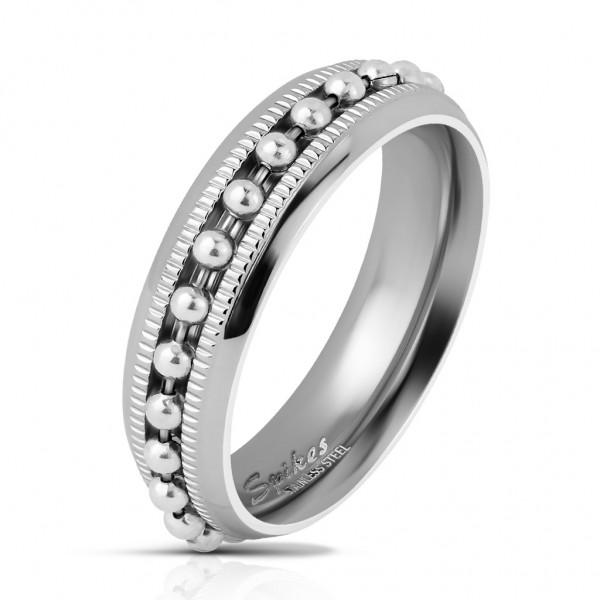 Coolbodyart Herrenring Bandring in silber mit eingefasster Kugel-Kette in silber und Diamantschnitt