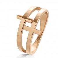 Ring Fingerring Edelstahl Doppel Kreuz roségold Größe 6/7/8/9/10