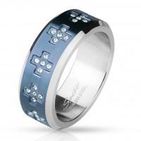 Fingerring Freundschaftsring, Verlobungsring, Ehering blau mit Zirkonia Kreuzen