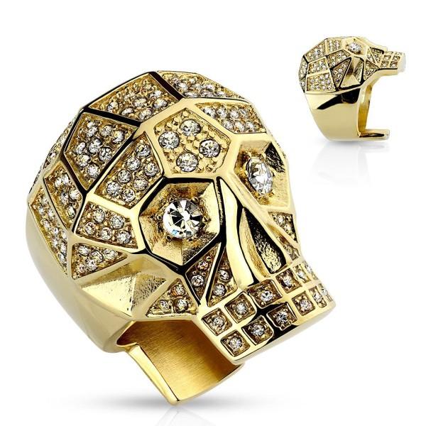 Siegelring Statementring in Gold Totenkopf Totenschädel mit Kristall klar