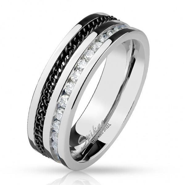 Edelstahl Ring Fingerring mit eingelassener Kette und Zirkonia schwarz silber