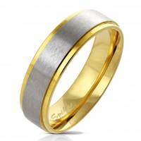 Fingerring aus Edelstahl in gold mit gebürstetem Edelstahl-Zentrum versch Größen