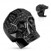 Siegelring Statementring in schwarz Totenkopf Totenschädel mit Kristall schwarz