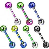 Unisex Zungenpiercing Hantel Barbell verschiedene Farben