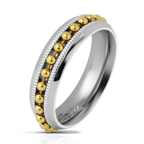 Coolbodyart Herrenring Bandring in silber mit eingefasster Kugel-Kette in gold und Diamantschnitt Br