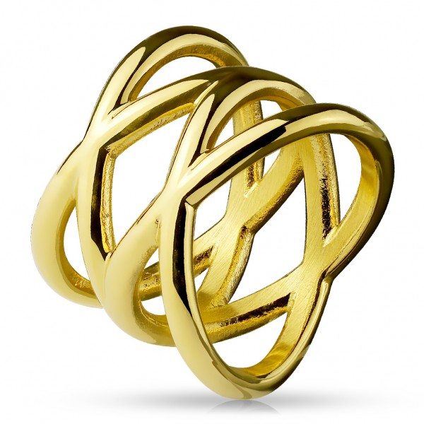 Fingerring Freundschaftsring, Verlobungsring, Statementring Double X gold