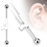 "Coolbodyart Unisex Inlay Industrial Piercing Waffe ""Gun"" 38mm"