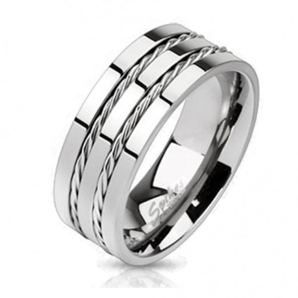 "Coolbodyart Unisex Titan Ring silber ""Double Wire"""