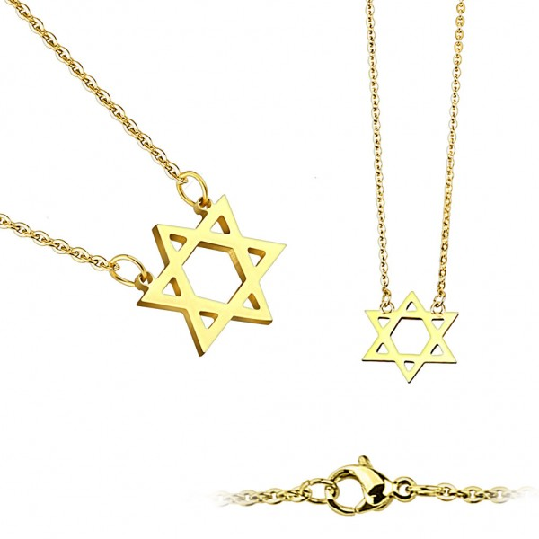 Coolbodyart Damen Edelstahl Halskette gold, schwarz oder silber, Davidstern