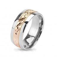 "Coolbodyart Unisex solider Titan Ring silber ""Streifenband"" rosé vergoldet"