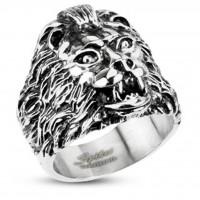 Siegelring aus Edelstahl in silber mit wildem Löwe-Kopf Breite 23 mm