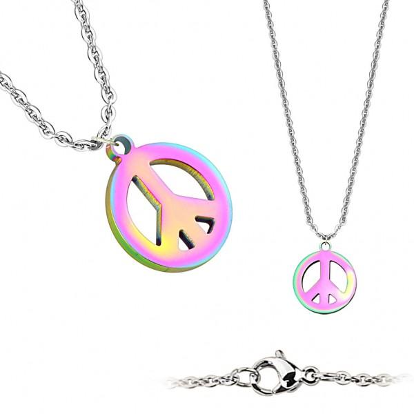 Coolbodyart Damen Edelstahl Halskette Anhänger Peace-Zeichen