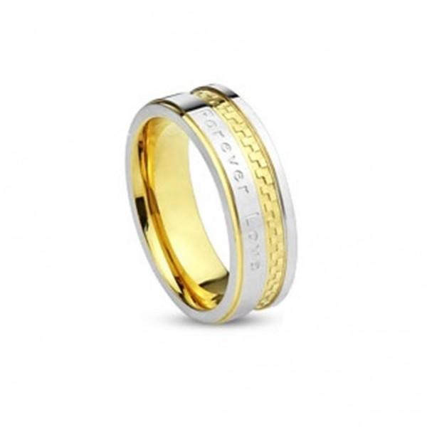 Edelstahl Ring silber gold schwarz 6/8mm Forever Love 47 (15) - 69 (22)