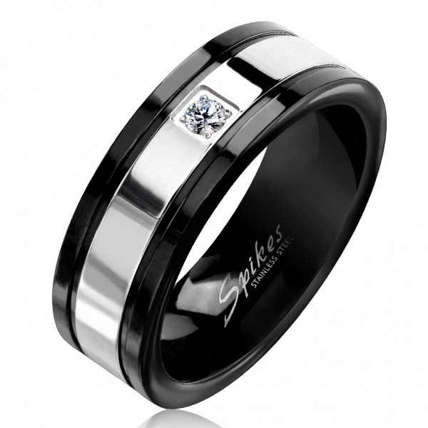 Tapsi´s Coolbodyart®| Fingerring Bandring Edelstahl Silber Schwarz Zwei Ton Optik Zirkonia Klar Größ