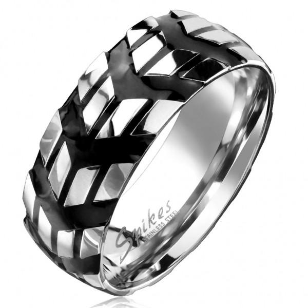 Tapsi´s Coolbodyart®| Fingerring Domering Edelstahl Silber-Schwarz Chevron Symbol Ringsum Laufend Gr