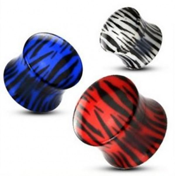 Tiger double flared Plug aus Kunststoff Piercing 6 -12mm