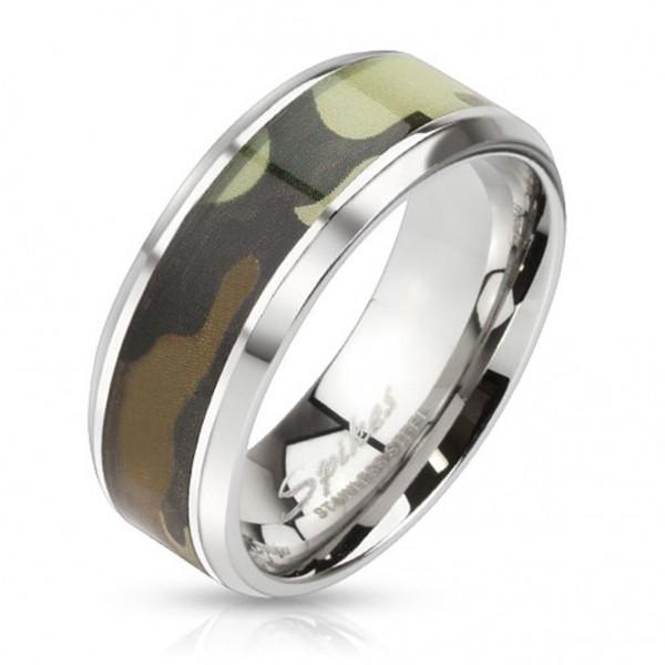 Coolbodyart Edelstahl Ring silber 8mm breit Ring mit Grün camoufliertem Inlay