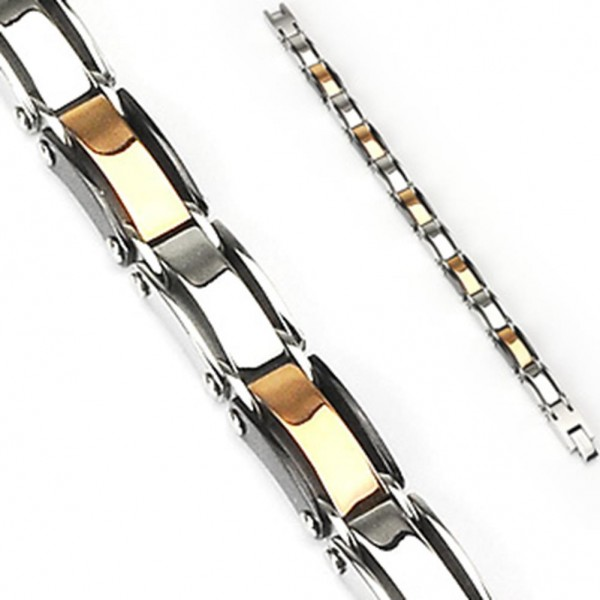 Coolbodyart Armband Edelstahl Gliederarmband zweifarbig Silber Gold Länge 215 mm