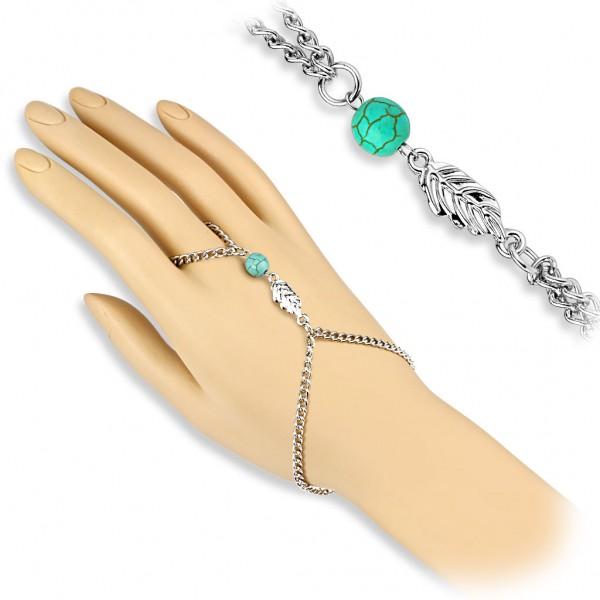Coolbodyart Damen Armband Sklavenarmband Vintage Style mit Blätter Charm und ...