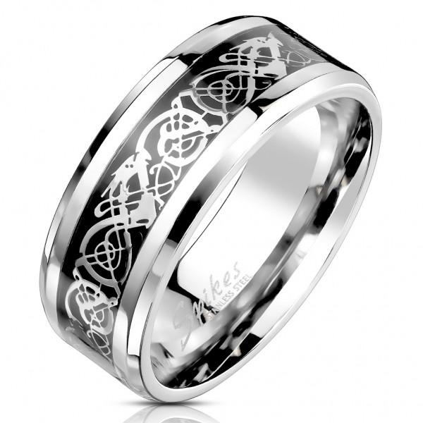 Tapsi´s Coolbodyart®| Fingerring Statementring Edelstahl Keltische Drachen Folien Inlay Größe 60(19)