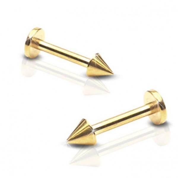 """Lippenpiercing Labret Monroe """"Spike"""" gold 2 Größen"""