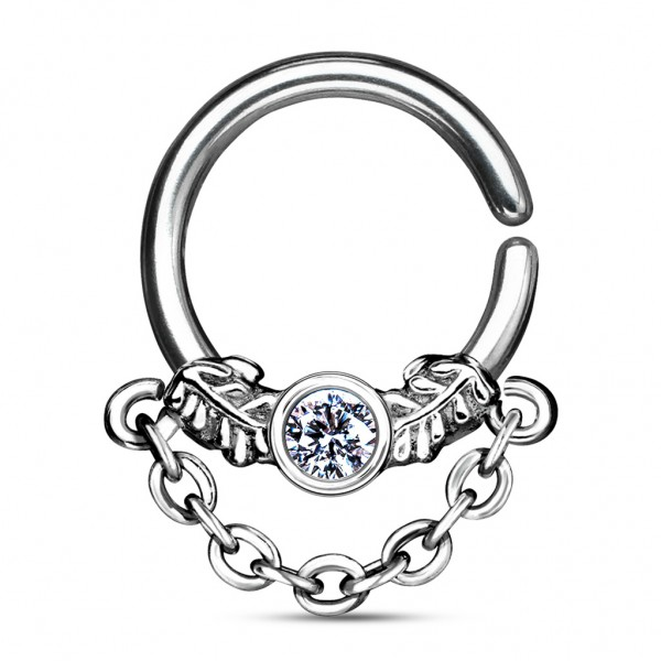 Tapsi´s Coolbodyart®| Cartilage Septum Hoop Ring Chirurgenstahl 316L Stahl-Silber Länge 8mm Stärke 1