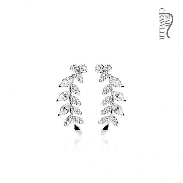 Ear-Crawler Ohrmanschette Ohrklemme aus Messing rhodiniert, Blätter mit Zirkonia