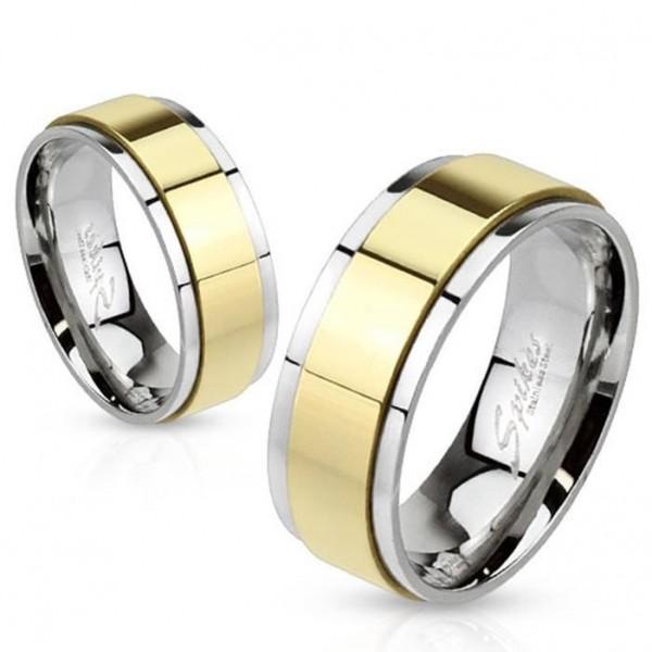 Edelstahl Unisex Ring vergoldeter drehbarer Ring Spinner