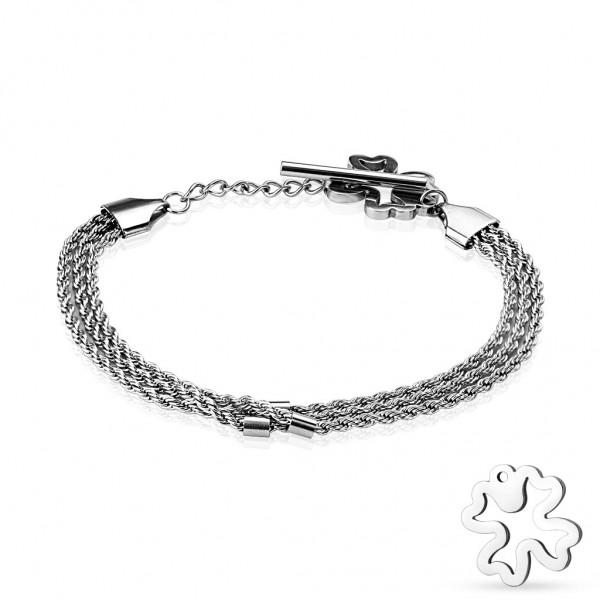 Coolbodyart Armband Bikerarmband Edelstahl dreifach Kordel gedreht silber mit...