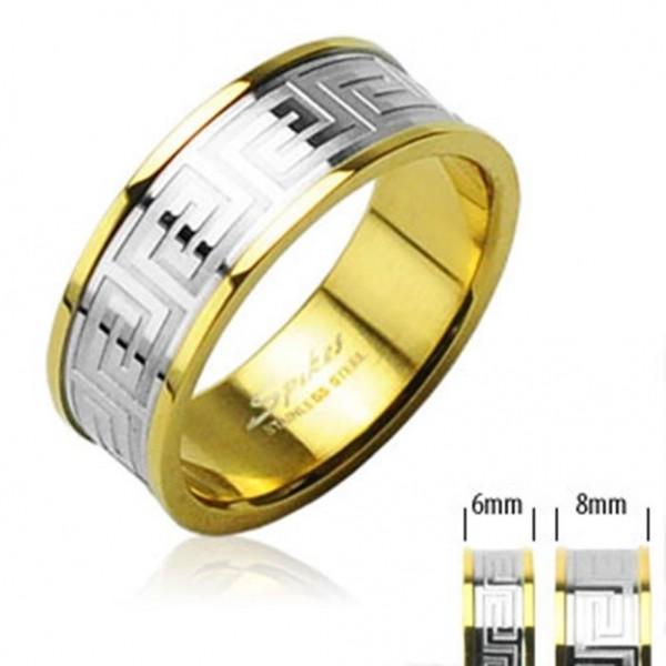 """Coolbodyart Unisex Ring Edelstahl silber gold """"Center Maze"""""""