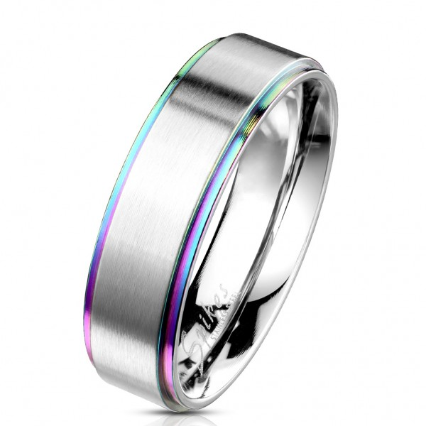 Tapsi´s Coolbodyart®| Fingerring Bandring Edelstahl 316L Silber Gebürstet, Abgeflachte Kanten Regenb