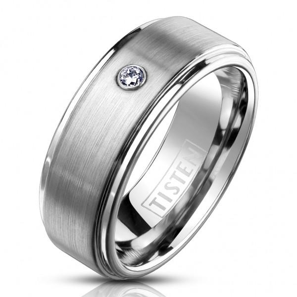 Tapsi´s Coolbodyart®| Fingerring Tisten Tungsten Titanlegierung Abgerundete Kanten Zirkonia Größe 60