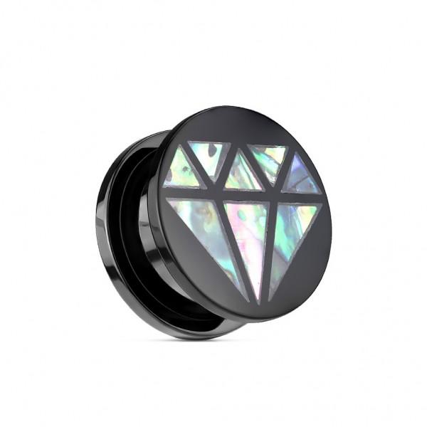 Screw Fit Plug aus Acryl-Kunststoff schwarz mit Abalone-Einlage