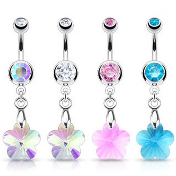 """Bauchnabelpiercing """"Crystal Flower"""" Zirkonia 4 Farben -- PIERCINGS von ALLFORYOU"""