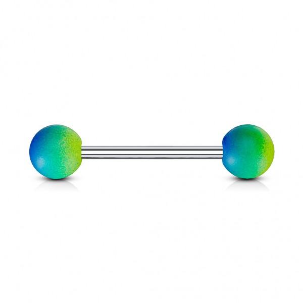 Tapsi´s Coolbodyart®| Barbell Piercing-Stab Chirurgenstahl 316L Gummi Kugel Lila-Pink;Blau-Grün;Blau