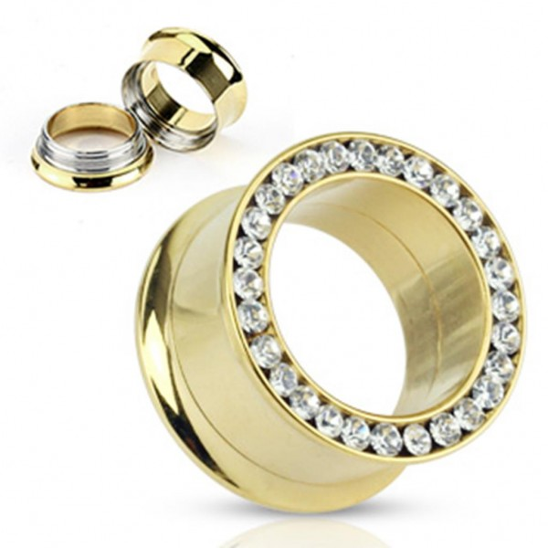 Luxus Double Flared gold Tunnel 4-25mm Zirkonia