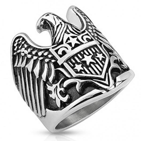 Edelstahl Biker Ring silber 25mm breit Adler Sterne Schild 60 (19) ? 72 (23)