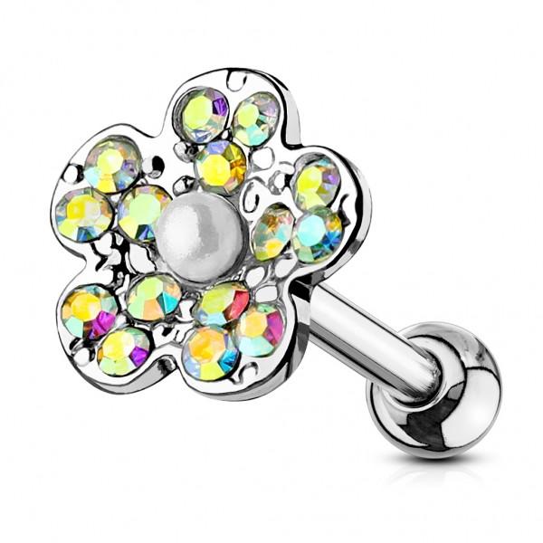 Tapsi´s Coolbodyart®| Ohr Cartilage Tragus Barbell Edelstahl Chirurgenstahl 316L Silber Antik Blüte
