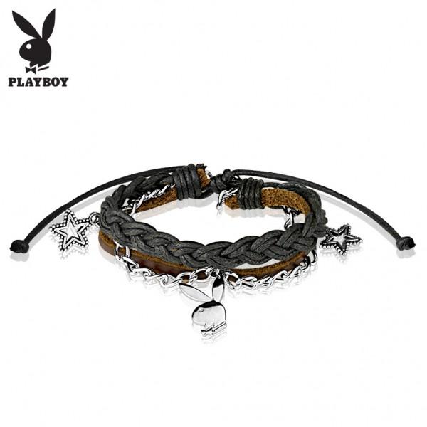 Coolbodyart Unisex Playboy Armband Echtleder in Braun und Schwarz Charms aus ...