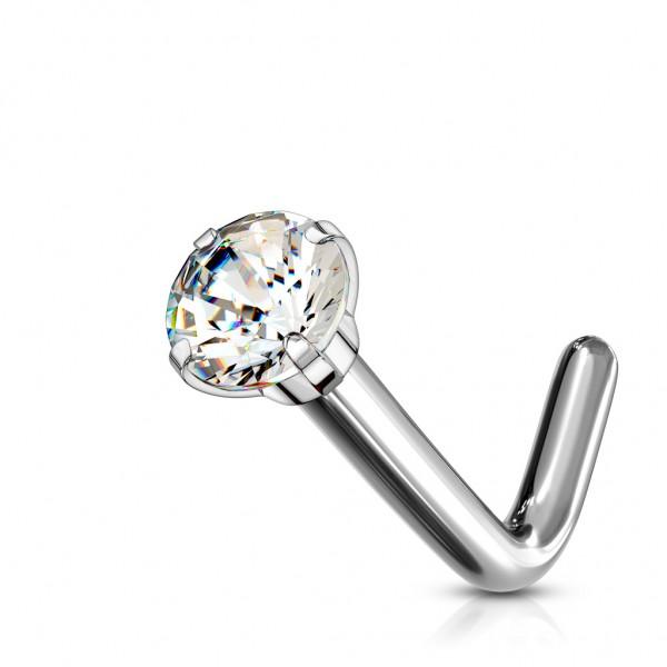 Tapsi´s Coolbodyart®| Nasenpiercing Screw L Form Gebogen Titan Grad 23 Länge 6mm Stärke 0,8mm/1mm K