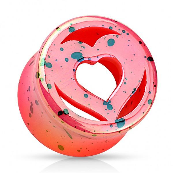 Coolbodyart Acrylharz Double Flared Plug pink mit Tupfen Herz mit Loch