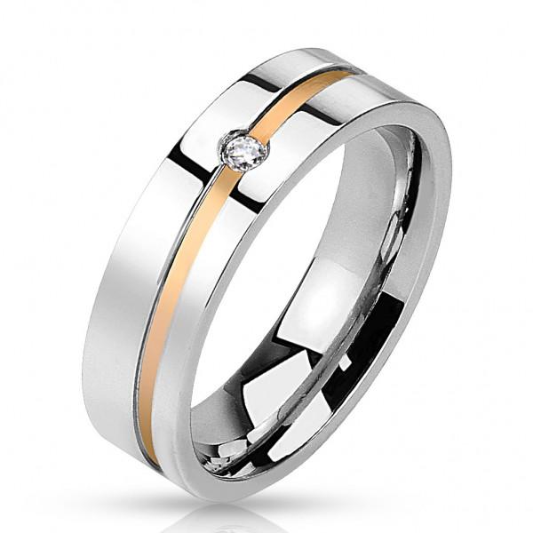 Herren Damen Ring gold black line 10 Größen Edelstahl