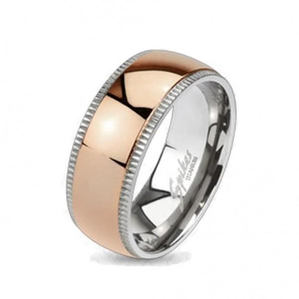 "Coolbodyart Unisex Titan Ring silber rosègold ""Edge Dome"""
